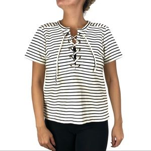 Madewell Striped Lace Up Top Size Medium